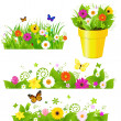Stock Vector: Green Grass With Flowers Set