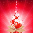 Valentines Day Card With Box And Sunburst - Vektorgrafik