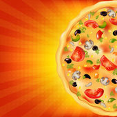 Pizza Poster With Sunburst — Stock Vector