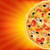 Pizza-poster mit sunburst — Stockvektor