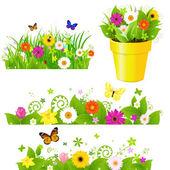 Conjunto de hierba verde con flores — Vector de stock