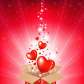 Valentines Day Card With Box And Sunburst — Stock Vector