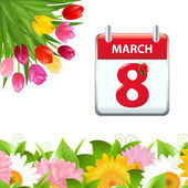 Calendar And Flower Border — Stock Vector