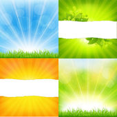 Green And Orange Backgrounds With Sunburst — Stock Vector
