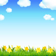 Flower Meadow With Grass And Cloud — Stock Vector #9354485