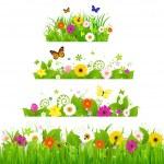 erba con fiori set — Vettoriale Stock