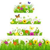 Grama com flores conjunto — Vetorial Stock