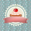 Stock Vector: Birthday Cupcake With Cherry