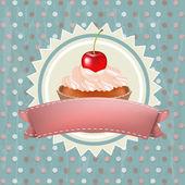 Birthday Cupcake With Cherry — Stock Vector
