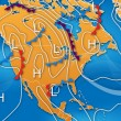 Weather Map of North America — 图库照片