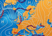 European Vector Weather Map — Stockfoto