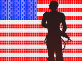 Soldaten-silhouette — Stock Vector