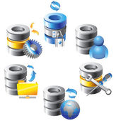 Database - Web Hosting Icons — Stock Vector