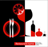 Black & red menu for cafe, restaurant — Stock Vector