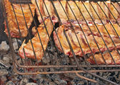 Pieces of pork edges with meat in a bar on coals — Stock Photo