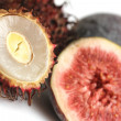 Stock Photo: Exotic fruits compilation: rambutand fig