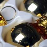Golden christmas spheres reflection — Stock Photo