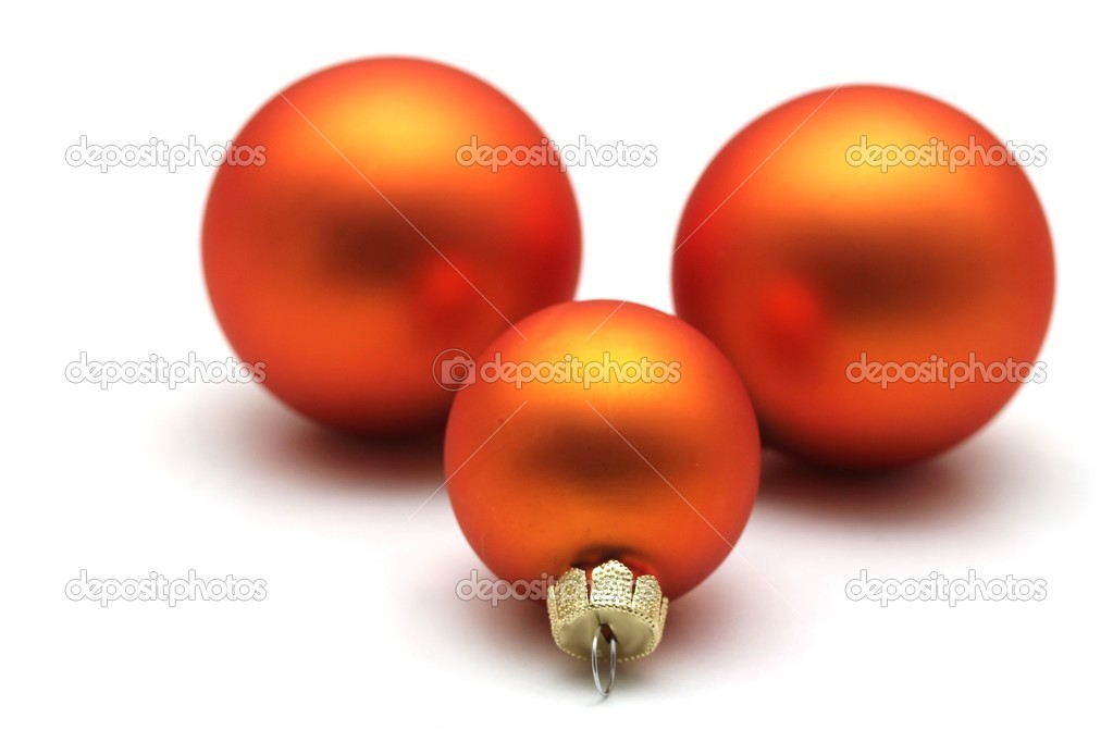 Some isolated orange christmas spheres  Stock Photo #8332627