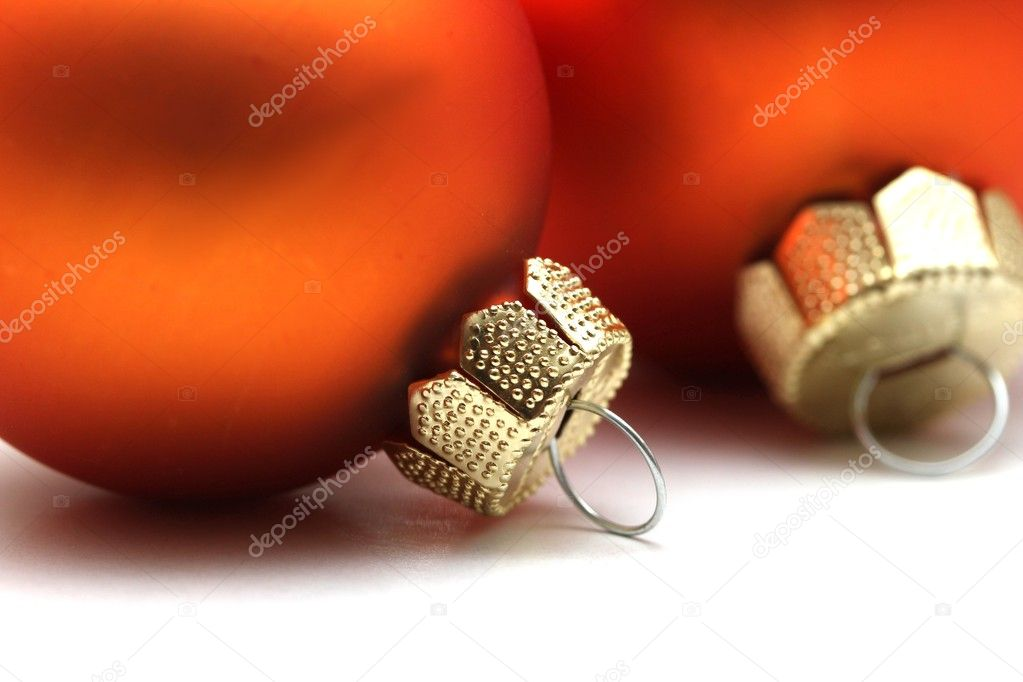 Some isolated orange christmas spheres — Stock Photo #8332645