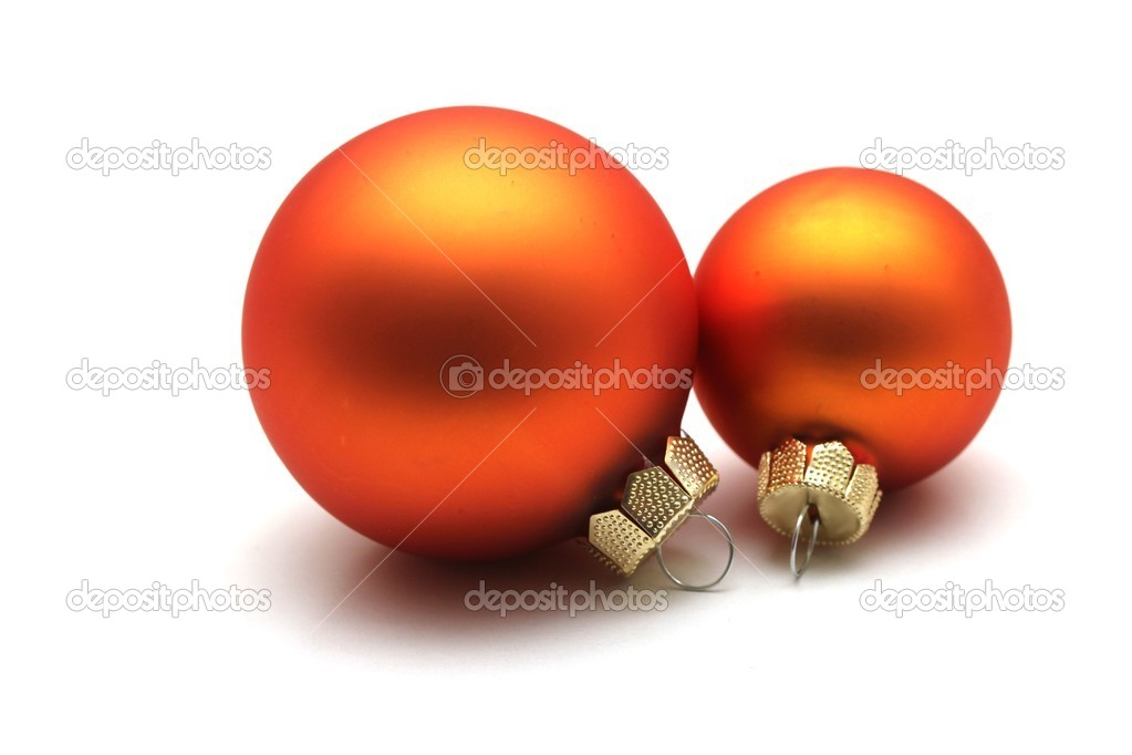Some isolated orange christmas spheres — Stock Photo #8379775