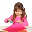 Little Child Girl Cutting with Scissors — Stock Photo #10007771