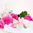 Romantic Dinner for Two in Pink — Stock Photo
