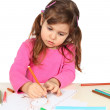 Little Girl Drawing — Stock Photo #10135904