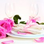 Arrangement for Romantic Dinner in Pink — Stock Photo