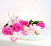 Arrangement for Romantic Dinner in Pink — Stock Photo