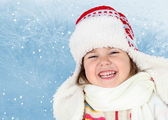 Little Girl in Winter Hat Laughing — Stock Photo