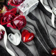 Hearts over Textile Still Life with Roses — Stockfoto