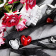 Stock Photo: Hearts over Black Tender Textile Still Life