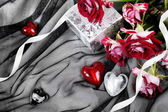 Valentine Still Life with Hearts and Roses — Stock Photo