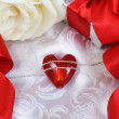 Valentine's Day Card with Heart over Silk — Stock Photo #8675392