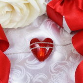 Valentine's Day Card with Heart over Silk — Stock Photo