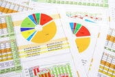 Colorful Sales Report in Digits, Graphs and Charts — Stock Photo