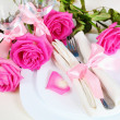 Arrangement for Romantic Dinner Close - Stock Photo