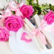 Arrangement for Romantic Dinner Close — Stock Photo