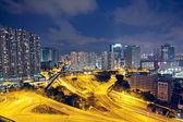 Traffic in Hong Kong at night — Stock Photo