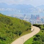 Asphalt winding curve road to city — Stock Photo #10677605