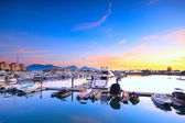 Yachts in the golden coast sunset ,in hongkong — Stock Photo