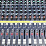 Buttons equipment in audio recording studio — Stock Photo