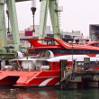 Catamaran ferry in maintain harbor — Foto de Stock