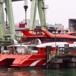 Stock Photo: Catamarferry in maintain harbor
