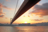 Tsing ma bridge sunset,Hongkong — Stock Photo