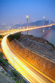 Hong Kong Bridge of transportation at night — Стоковое фото