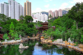 Chinese style park in city — Stock Photo