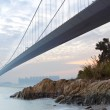 Bridge at sunset moment, Tsing ma bridge — Stock Photo #8610948
