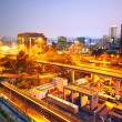 City and train rail, sunset moment — Stock Photo #8611046