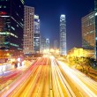 Traffic in downtown in hong kong at night — Stock Photo
